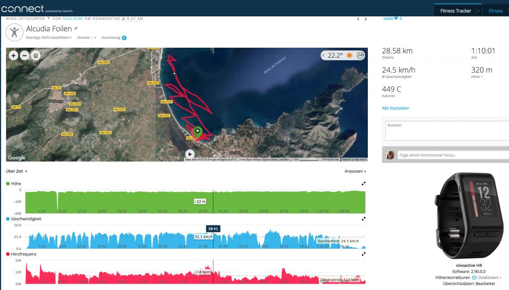 Garmin Vivoactive HR vs. Garmin Forerunner 235. Kite-Hydrofoiling auf Mallorca, Bucht von Pollensa